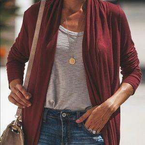 Burgundy drape cardigan